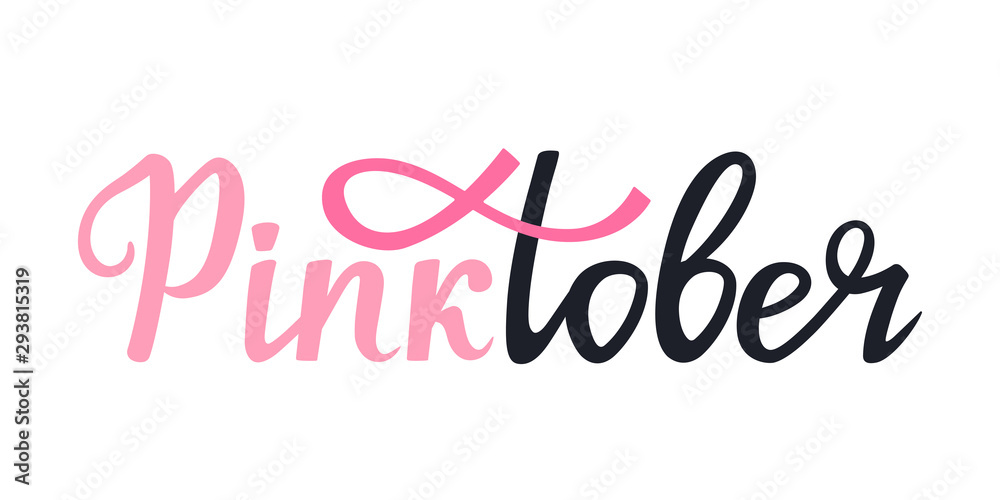 Fototapeta National Breast Cancer Awareness Month banner. Pinktober hand drawn lettering with ribbon