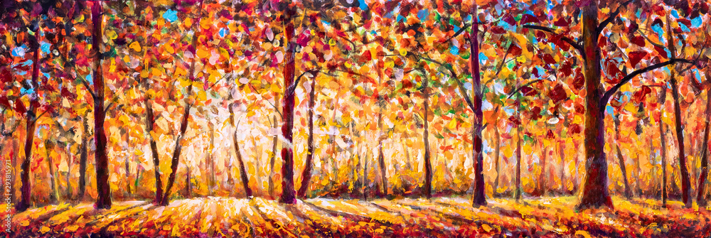 Fototapeta Autumn  panorama Original oil painting on canvassunny park with red golden trees and meadow , natural seasonal background Original oil painting on canvas