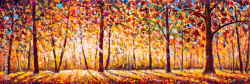 Fototapeta Autumn  panorama Original oil painting on canvassunny park with red golden trees and meadow , natural seasonal background Original oil painting on canvas obraz