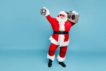 Full Length Body Size View Of His He Nice Cool Fat Cheerful Cheery Glad Carefree Bearded Santa Carrying Tape Player Dancing Holding In Hand Discoball Isolated On Blue Turquoise Pastel Color Background