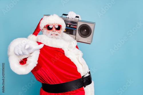 Obraz na plátně  Close-up pf his he nice cool fat cheerful cheery glad bearded Santa clubber carr