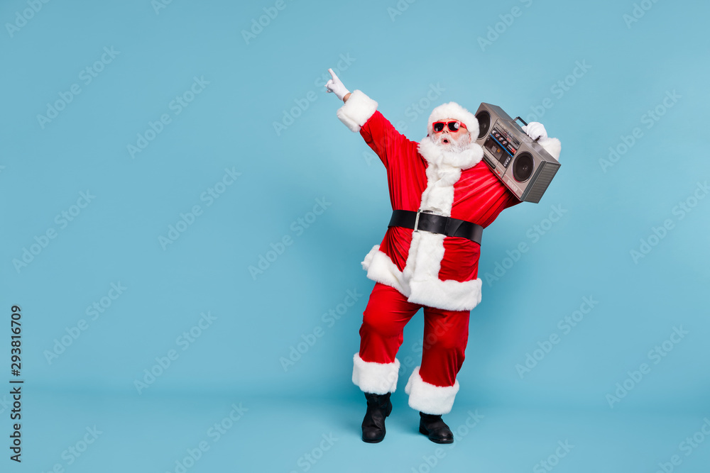 Fototapety, obrazy: Full length body size view of his he nice cool trendy stylish fat cheerful cheery glad excited bearded Santa carrying tape player dancing isolated over blue turquoise pastel color background