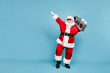canvas print picture Full length body size view of his he nice cool trendy stylish fat cheerful cheery glad excited bearded Santa carrying tape player dancing isolated over blue turquoise pastel color background