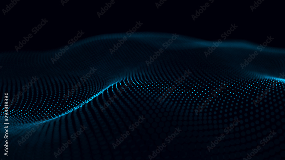 Fototapeta Futuristic background of points and lines with a dynamic wave. Big data. Abstract background 3d rendering. 4k.