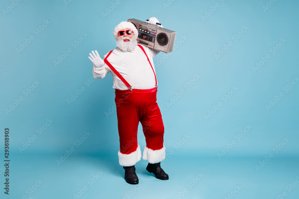 Fototapety, obrazy: Full length body size view of his he nice cool bearded fat cheerful cheery Santa carrying retro vintage cassette player dancing isolated on bright vivid shine vibrant blue turquoise color background
