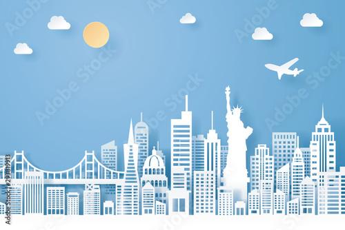 Fototapeta paper cut of usa  landmark, travel and tourism concept obraz