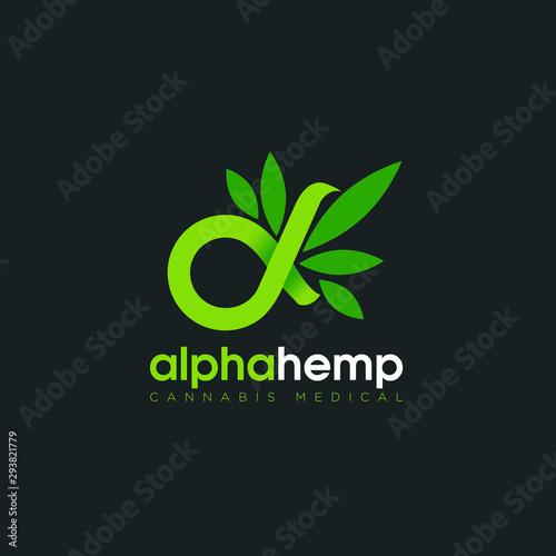 Photo logo alpha hemp, with symbolic infinity and cannabis  vector