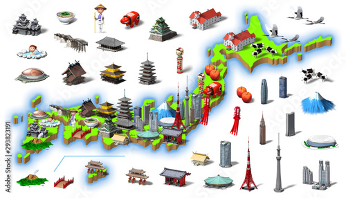 Fotomural 3d rendering, famous place in Japan, famous product_2