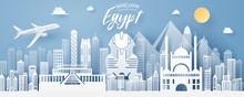 Paper Cut Of Egypt Landmark, T...