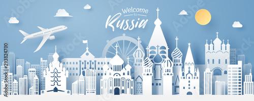 Fotografía  paper cut of russia landmark, travel and tourism concept.