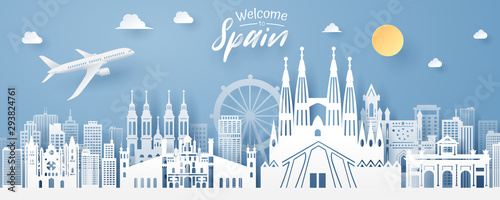 paper cut of spain landmark, travel and tourism concept.