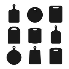 Set Of Wood Cutting Boards On White Background. Empty Black Kitchen Board Icon Collection. Different Shape Chopping Board Silhouettes. Kitchen Equipment, Utensils, Kitchenware. Blank Planks. Vector.