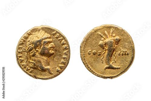 Fototapeta Roman gold aureus replica coin reverse of Roman Emperor Domitian AD 81-96  portr