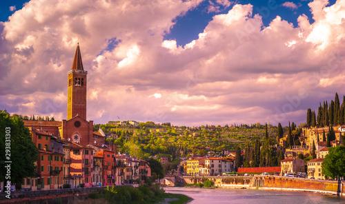Verona, Italy. A scenic panoramic view of the river of Adige Wallpaper Mural