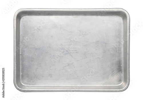 Metal baking pan aluminum tray (with clipping path) isolated on white background Wallpaper Mural
