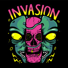 Skull Inside Alien Head Vector Illustration. Pink Skull, Alien Invasion For T-shirt Design, Poster, Sticker Or Emblem