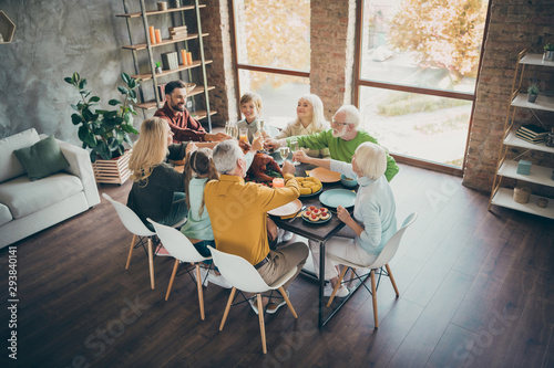 Poster Ecole de Danse Top above high angle photo of happy large family gathering around table senior retired pensioner small little kids hold glass juice alcohol toast sit table enjoy thanksgiving november event in house