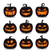 Set Of Halloween Pumpkins On White Background