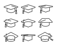 Graduation Cap Icon Set Line S...