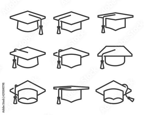 Photo graduation cap icon set line style