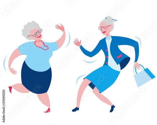 Photo Cheerful grandmothers dance incendiary dance.