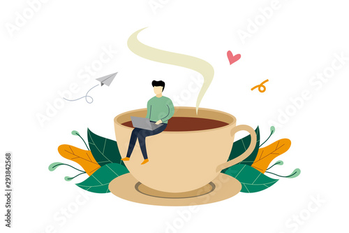 Coffee break, man sitting on huge coffee cup activity flat illustration vector t Canvas-taulu