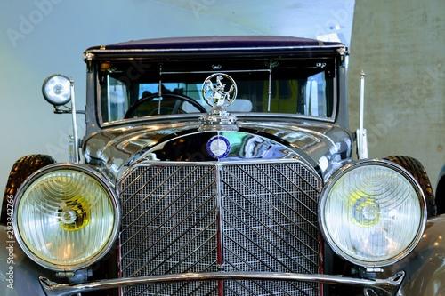 Photo Mercedes Museum, Stuttgart - June, 2019: An Old classic shiny Mercedes Car