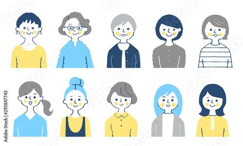 女性 10人 上半身 ブルー Canvas Print