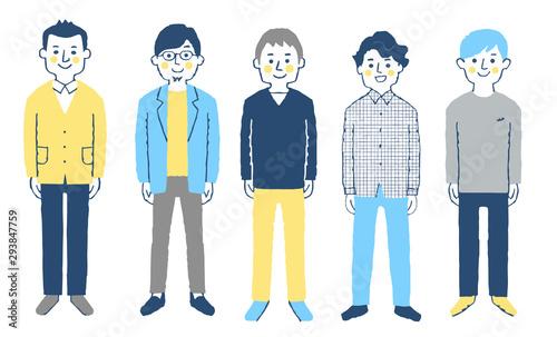 男性 5人 全身 ブルー Wallpaper Mural