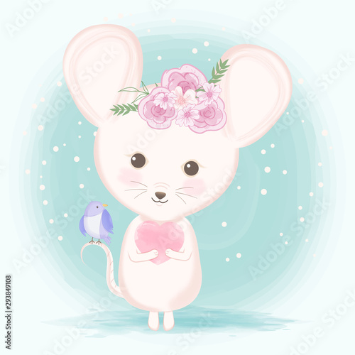 Cute mouse with bird hand drawn animal illustration watercolor on green Wallpaper Mural