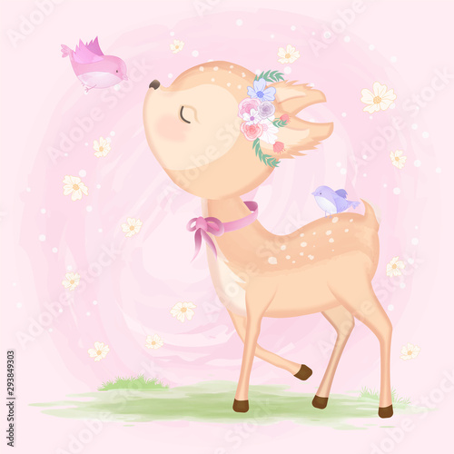 Cute baby deer with bird hand drawn animal illustration watercolor on pink Wallpaper Mural