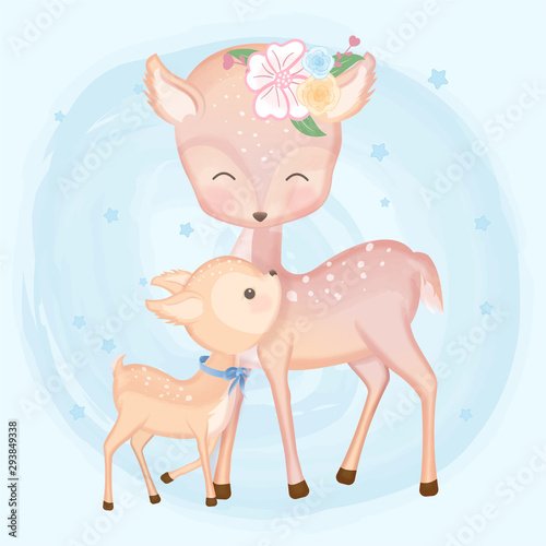 Cute baby deer and mother hand drawn animal illustration watercolor on blue Canvas Print