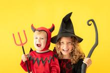 Happy Children Dressed Halloween Costume