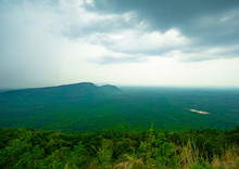 Landscape Of Pha Taem National Park In Cloudy Day In Ubon Ratchathani Province, Thailand