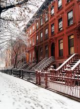 Brooklyn Brownstones In The Snow