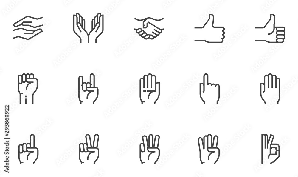 Fototapeta Hands vector line icons set. Hand gestures, signals. Editable stroke. 48x48 Pixel Perfect.
