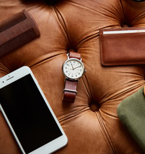 Leather Wristband Watch And Other Masculine Items