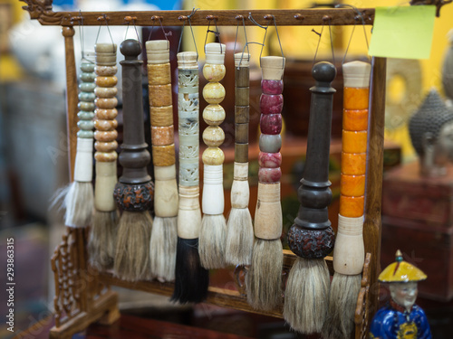 Antique and Colorful Japanese Handmade  Brushes for ideograms Canvas-taulu