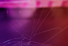 Texture Of Glass Broken Into Small Cracks, Pink, Purple Tinting, Close-up, Copy Space