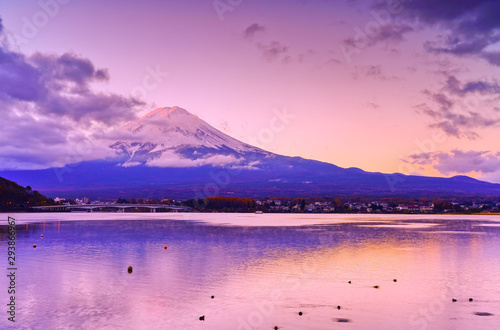 Garden Poster Light pink View of the Mount Fuji from Lake Kawaguchi at dawn in Japan.