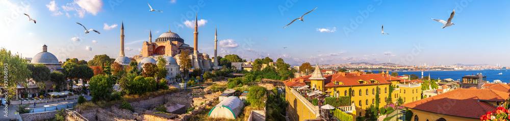 Fototapety, obrazy: Hagia Sofia, old Turkish Hammam and the Bosphorus, beautiful Istanbul panorama