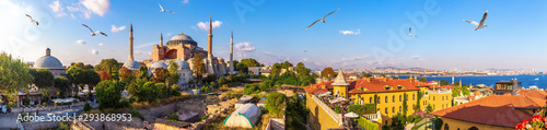 Photo Hagia Sofia, old Turkish Hammam and the Bosphorus, beautiful Istanbul panorama