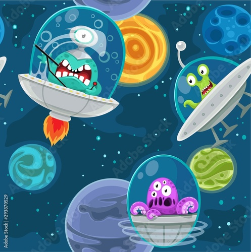 Seamless background with cartoon aliens in space