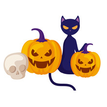 Halloween Pumpkins With Cat And Skull