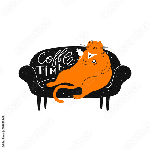 A big fat redhead contented smiling cat with a cup of coffee is sitting on the sofa. Hand drawn vector illustration with a pet on the couch. Print with lettering and cat, design element. Wall mural