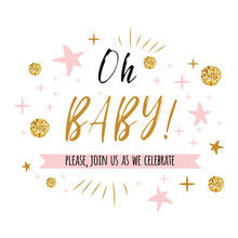 Oh Baby Text With Gold Polka Dot And Pink Star For Girl Baby Shower Card Invitation Template