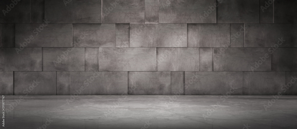Fototapeta Dark Concrete Wall Background with Spotlight Floor - Empty Room Scene for Car or Product Placement or Presentation