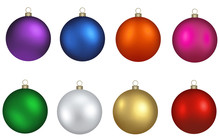 Set Colorful Christmas Balls Vector