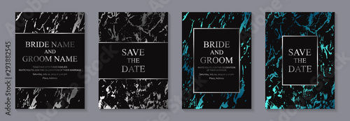 Set of modern geometric luxury wedding invitation design or card templates for business or presentation or greeting with silver and blue marble texture or paint splashes on a black background Tapéta, Fotótapéta