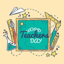 Teachers Day. Happy Teachers Day Modern Lettering.Vector